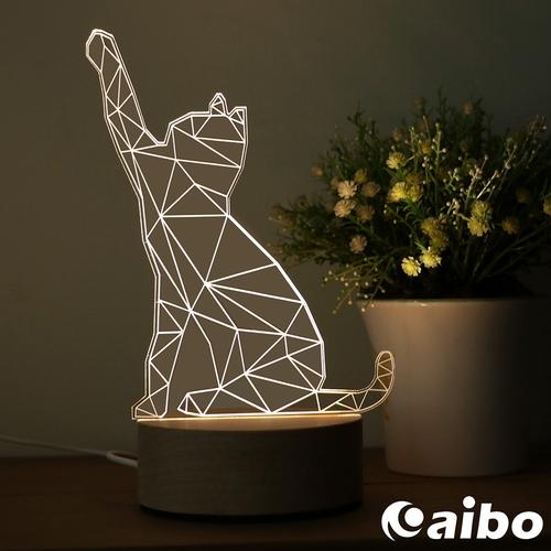 北歐風3D立體造型 LED原木底座USB小夜燈(線控開關)-貓咪