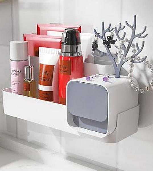 壁掛式化妝品收納 浴室置物架衛生間廁所免打孔壁掛化妝品面膜收納盒洗手間收納神器