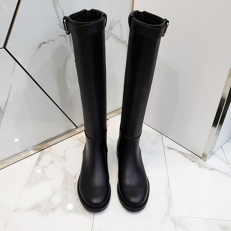 長靴女不過膝靴騎士靴2020新款冬季高筒靴加絨皮靴中筒馬靴長筒靴