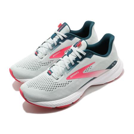 Brooks 慢跑鞋 Launch 8 運動 女鞋 路跑 緩震 DNA科技 透氣 健身 球鞋 灰 粉 1203451B110 1203451B110