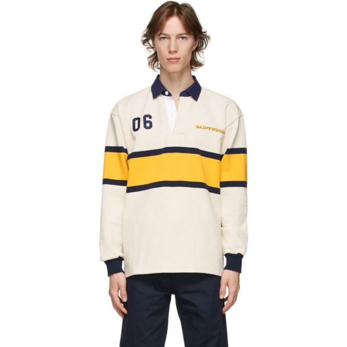 Saintwoods 米色徽标橄榄球 Polo 衫