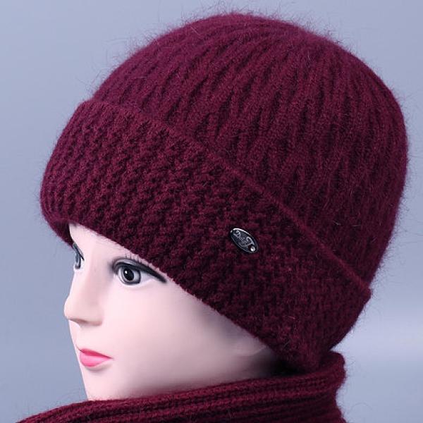 老人毛線帽 冬季中老年人帽子女奶奶兔毛線帽加絨厚媽媽針織帽老太太保暖棉帽