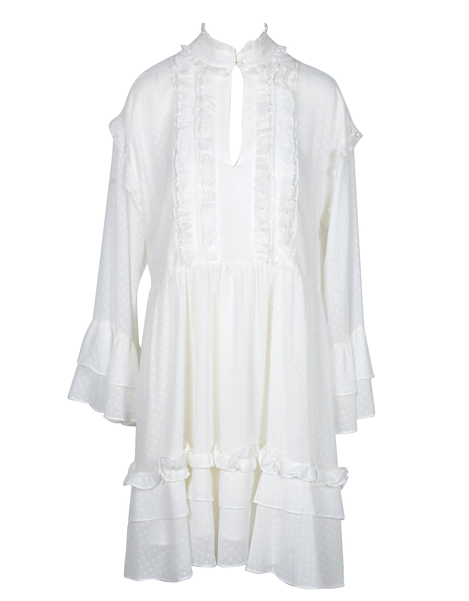 TWIN SET 连衣裙、连衣裤, White Dots and Ruffles Women's Dress