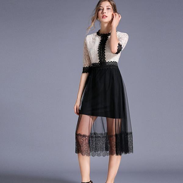 【南紡購物中心】《D Fina 時尚女裝》 氣質名媛 經典撞色拼接網紗五分袖蕾絲禮服