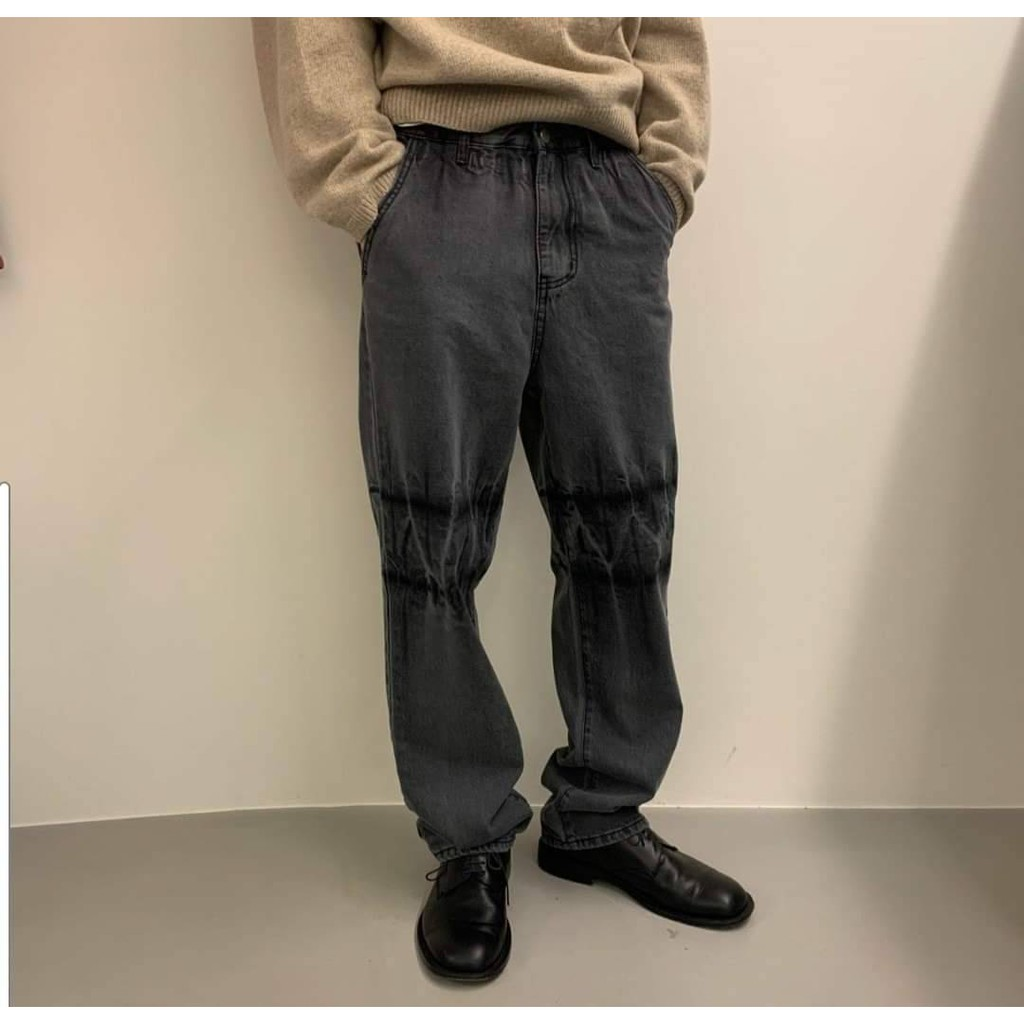 現貨韓國ins超火復古洗水石灰闊腿褲/牛仔褲 潮流時尚 歐巴穿搭 修飾雙腿線條 百搭單品 連線款