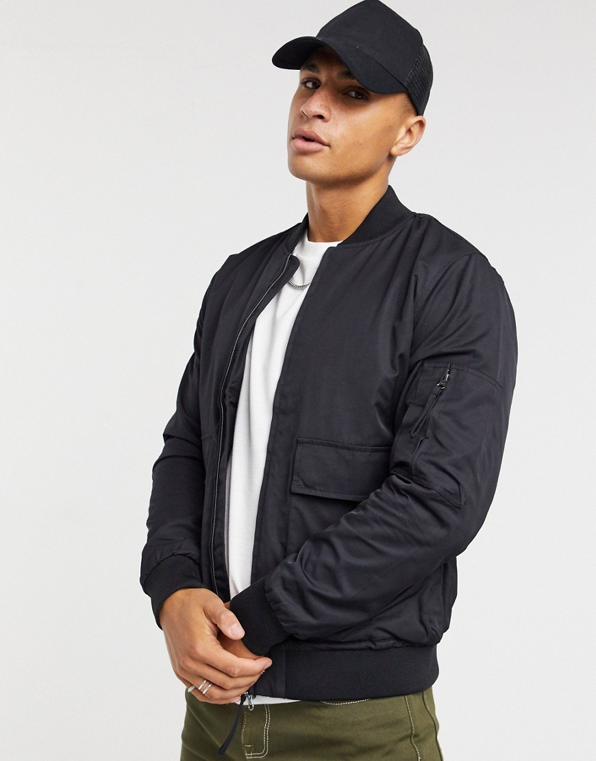 Topman bomber jacket in black