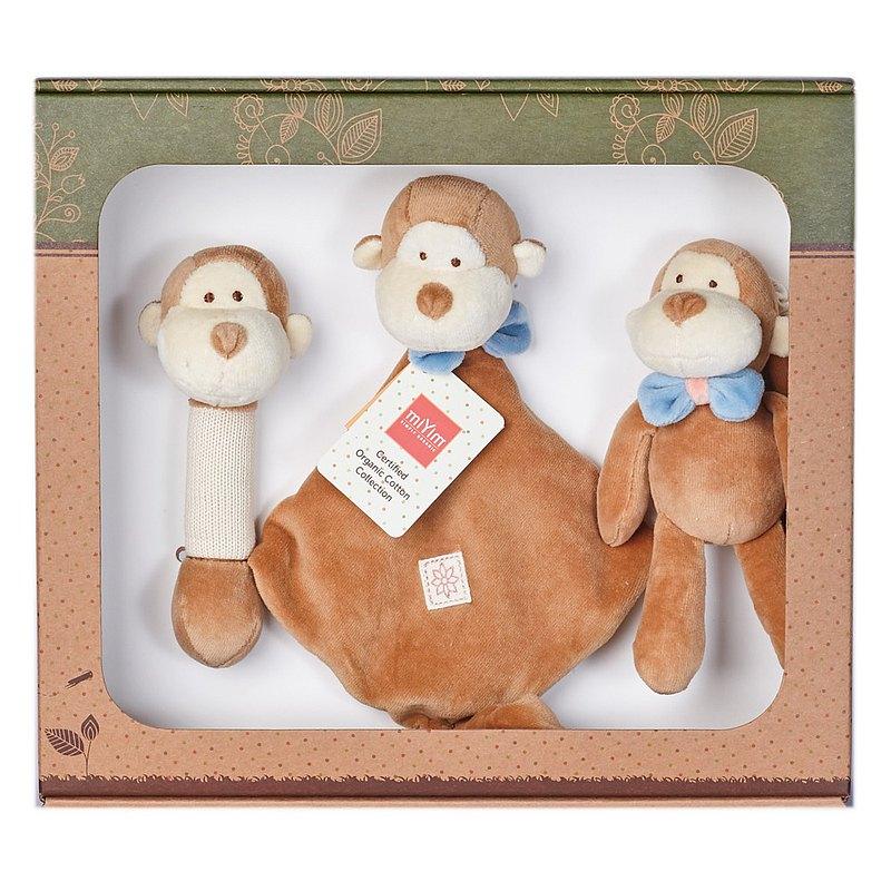 有機棉新生彌月安撫禮盒組 安撫巾+吉拿棒+娃娃 (miYim小猴子)