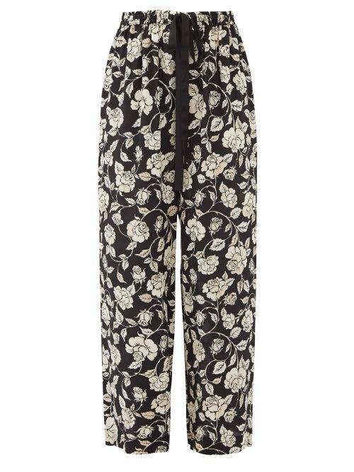 Zimmermann - Floral-print Crepe Wide-leg Trousers - Womens - Black White