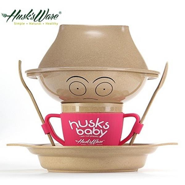 【南紡購物中心】【Husk's ware】美國Husk's ware稻殼天然無毒環保兒童餐具經典人偶款-桃紅色
