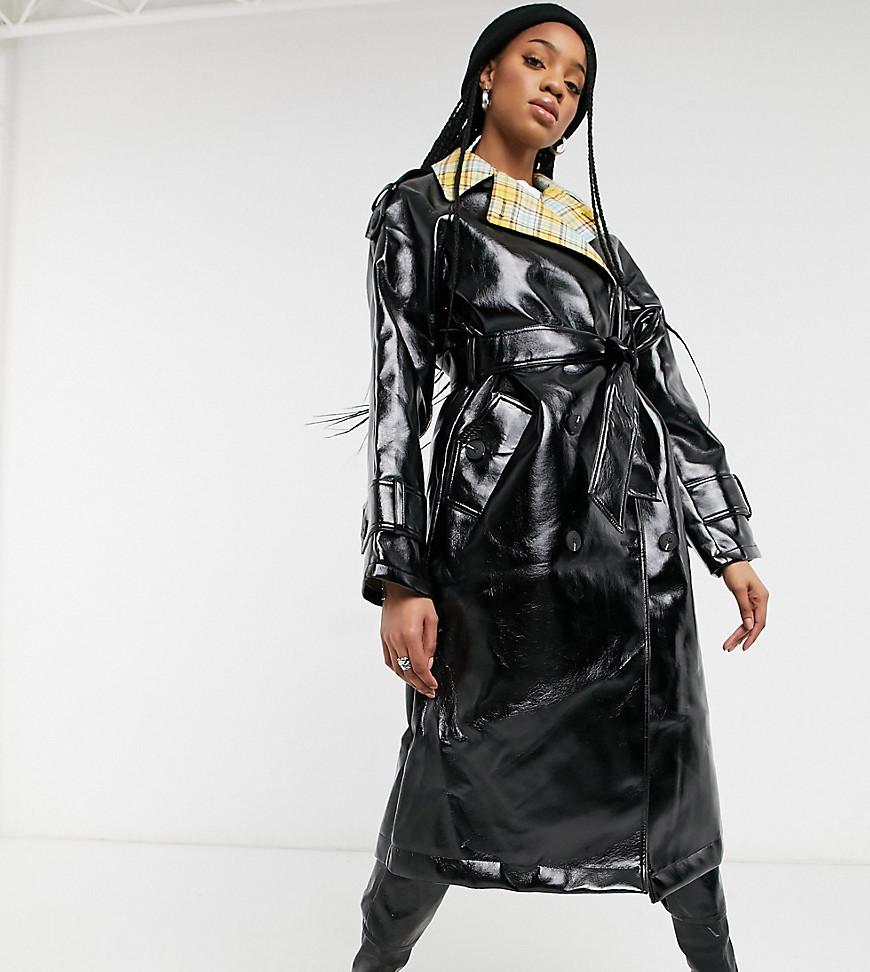 ASOS DESIGN Tall check bonded vinyl trench coat in black