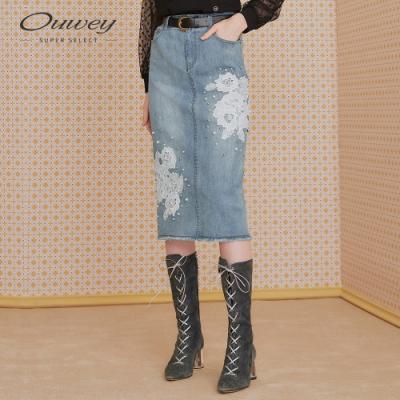 OUWEY歐薇 蕾絲貼花珍珠微彈牛仔裙(藍)