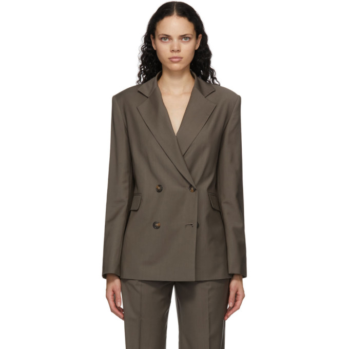 Loulou Studio 灰褐色 Tatakoto 羊毛双排扣西装外套
