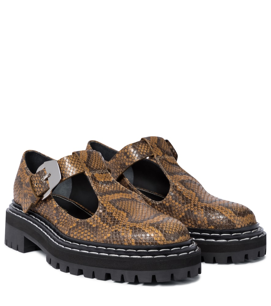 Snake-effect leather Mary Janes