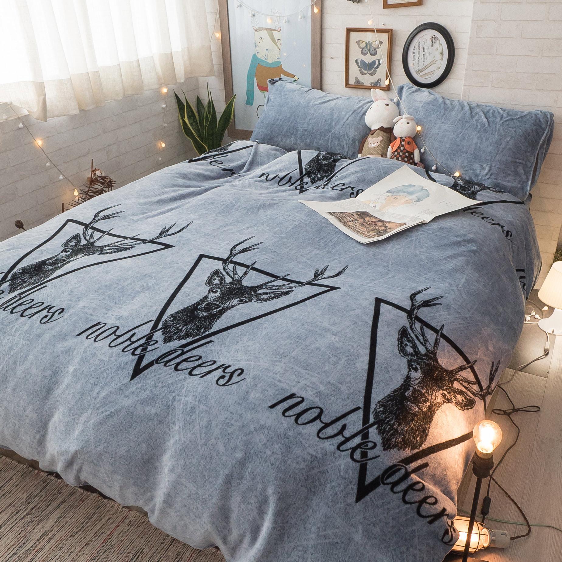 尋之麋鹿 法蘭絨床包兩用毯組(文藝系) 雙人/加大可選 溫暖舒適 【棉床本舖】