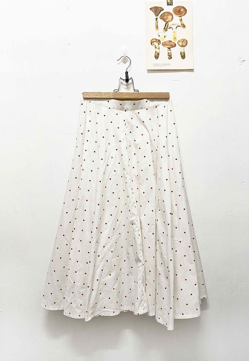 復古 紅色小波點 白色 半身 長裙
