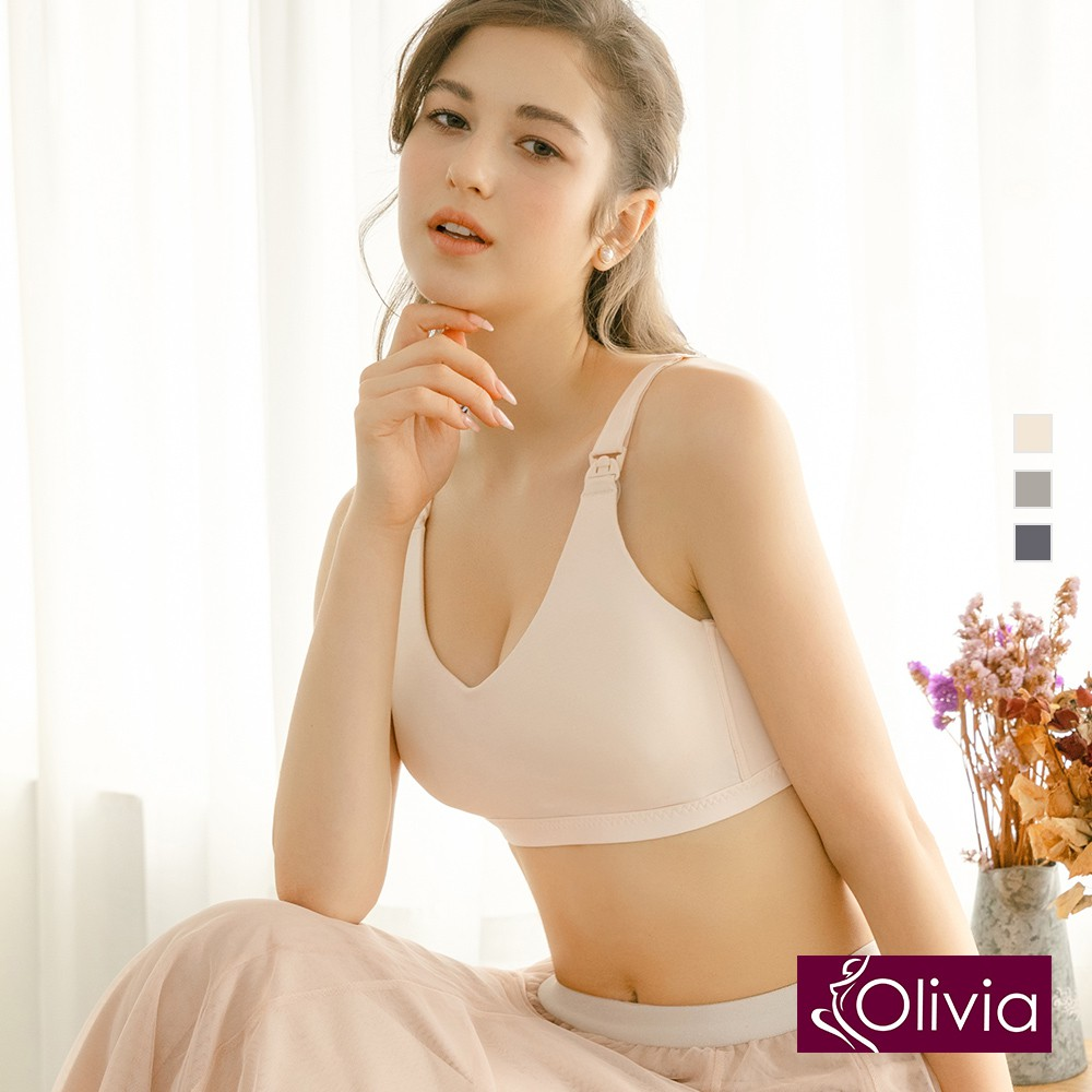 Olivia【曖昧系列-藍莓派戀人】無鋼圈蠶絲細緻零著肌內衣-膚色