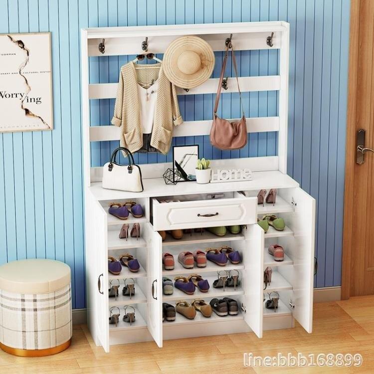 鞋櫃 多功能簡約現代歐式鞋櫃衣架一體家用門口進門儲物鞋櫃掛衣架鞋架