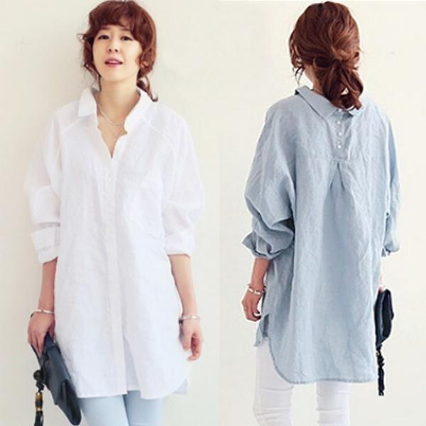 S-XL韓妞隨興時尚寬鬆棉麻顯瘦長版襯衫(2色)-優美依戀