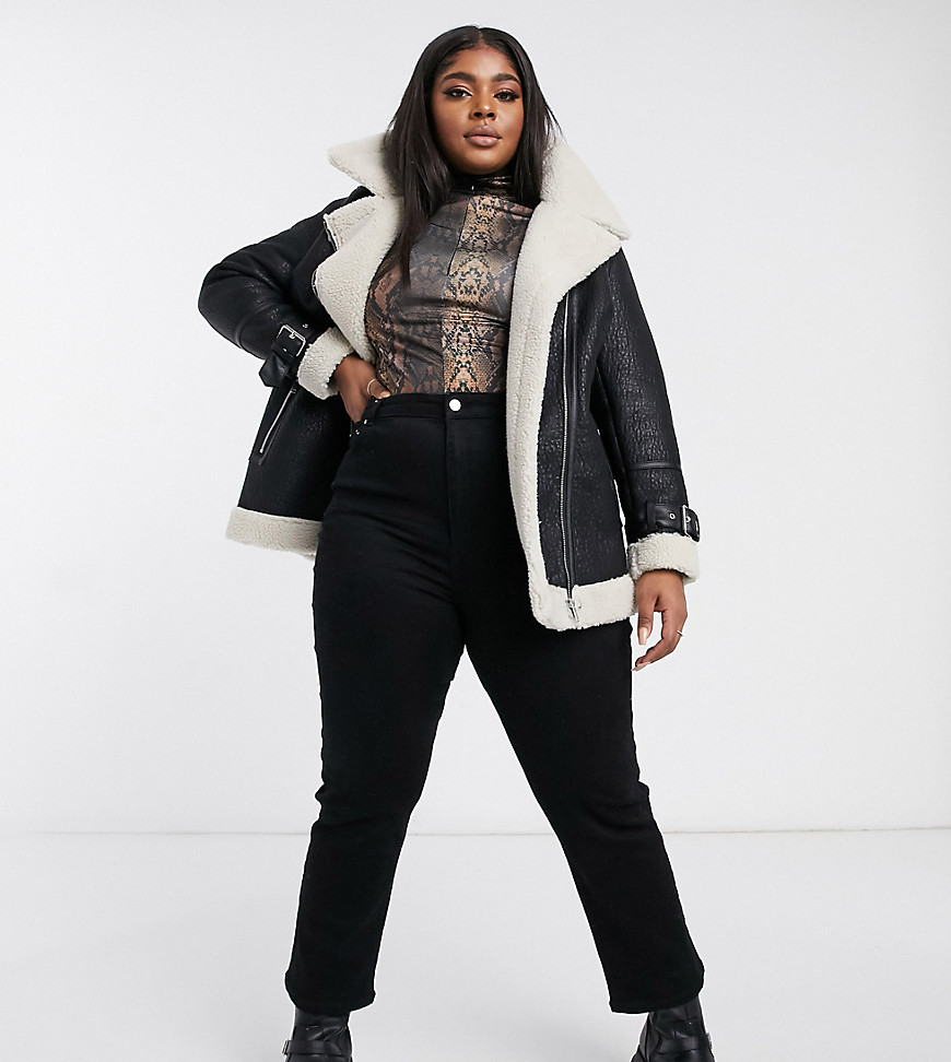 New Look Curve faux fur lined contrast aviator jacket in black