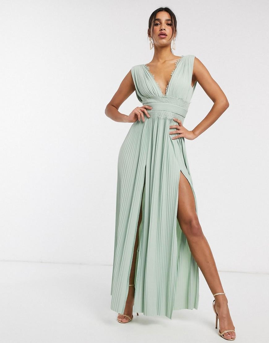 ASOS DESIGN Premium Lace Insert Pleated Maxi Dress in sage green