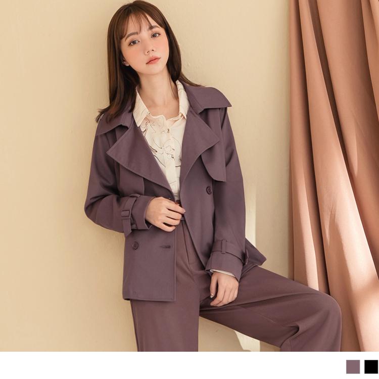 質感純色雙排釦西裝領風衣外套
