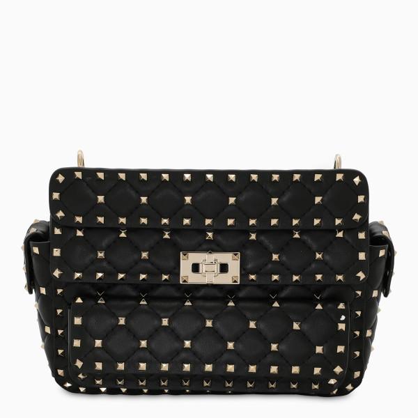Valentino Garavani Black/gold quilted Rockstud Spike bag