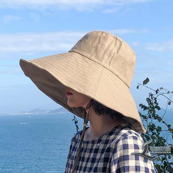 日系純色大檐漁夫帽女可折疊太陽帽防曬遮陽帽百搭帽子潮【邻家小鎮】