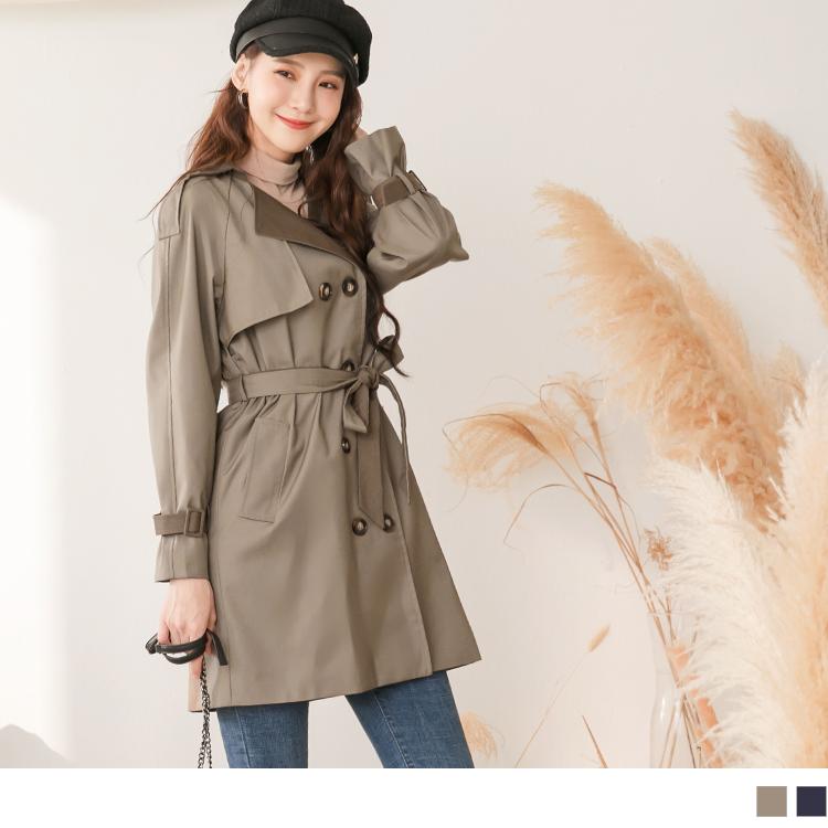 韓系修身版型翻領配色雙排釦附綁帶風衣外套