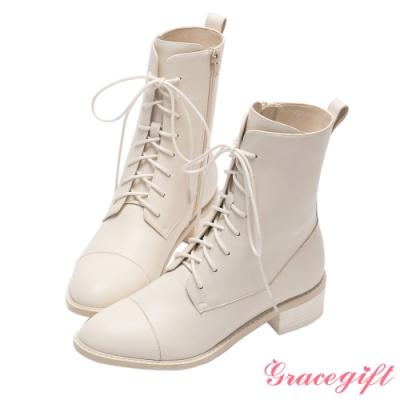 Grace gift X玄玄-聯名第一次翹課全真皮中跟綁帶靴 米白