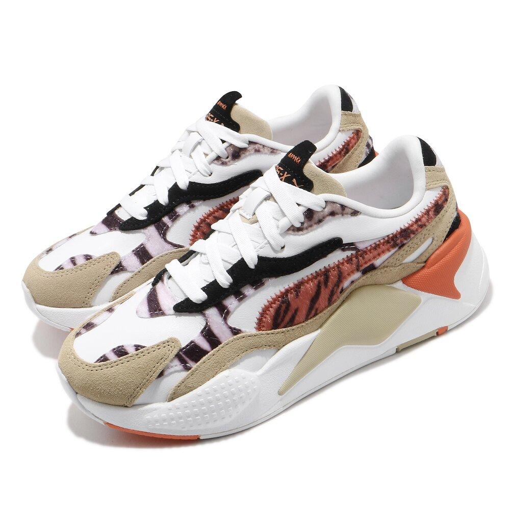 PUMA 休閒鞋 RS-X3 W.Cats 運動 女鞋 經典款 舒適 穿搭 動物紋 質感 球鞋 白 卡其 [37395301]