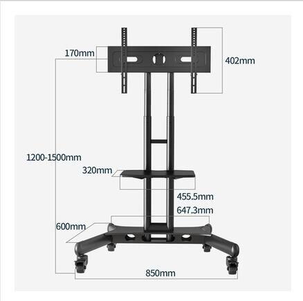 55/65寸可移動支架帶輪教學一體機掛架落地式伸縮旋轉電視機推車