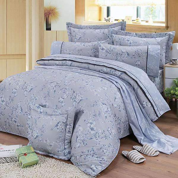 【南紡購物中心】【FITNESS】精梳棉雙人七件式床罩組-莉蒂亞(灰)