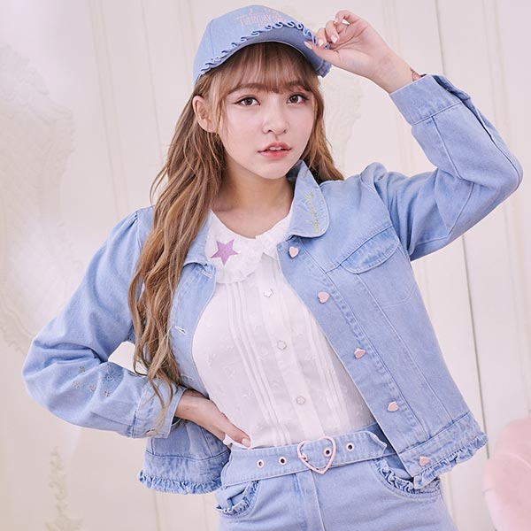 露比午茶-Ruby x AKB48TeamTP設計•愛心排扣牛仔外套