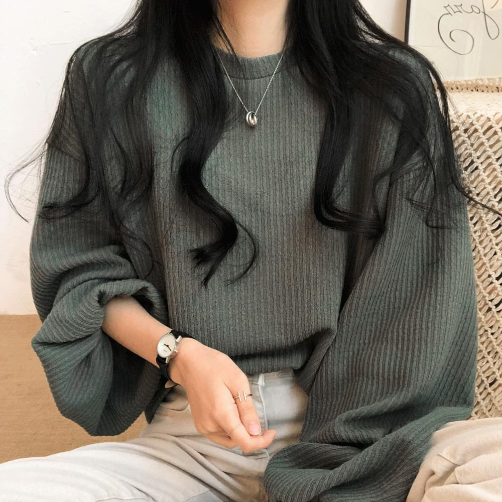 韓國空運 - Signal Puff Ribbed Sweatshirt 長袖上衣