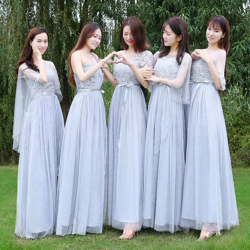 xinweishangmao【現貨】伴娘禮服女秋冬款韓版姐妹團伴娘服長款灰色顯瘦一字肩連衣裙