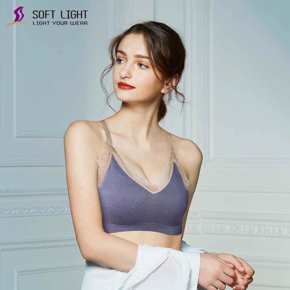 SOFT LIGHT - 蕾絲蜂巢透氣呼吸內衣(灰藍)