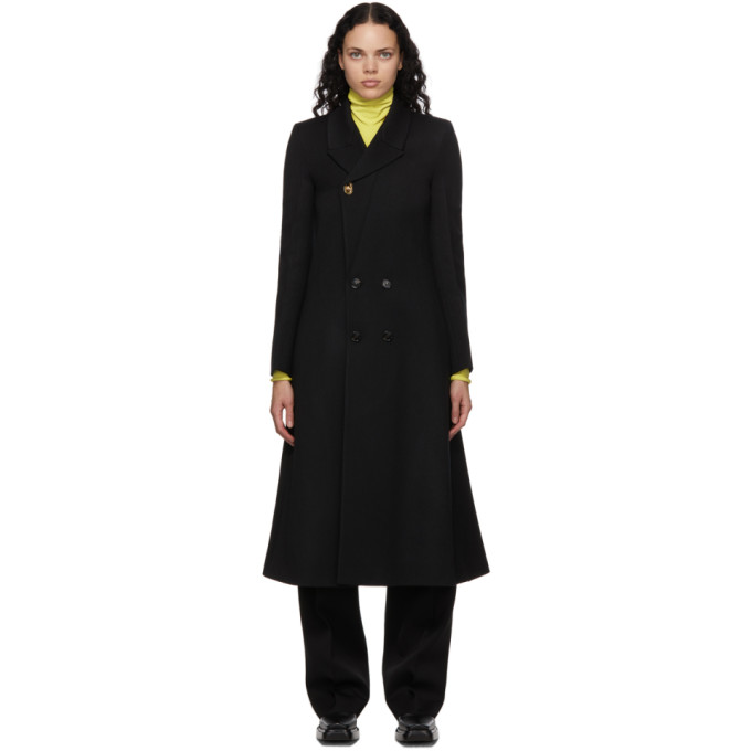Bottega Veneta 黑色斜纹双排扣大衣