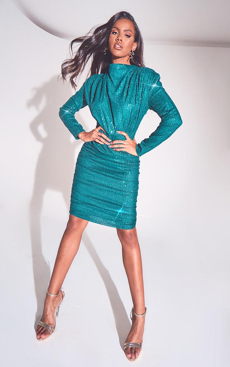 Emerald Green Sequin Shoulder Pad Ruched Front Midi Dress