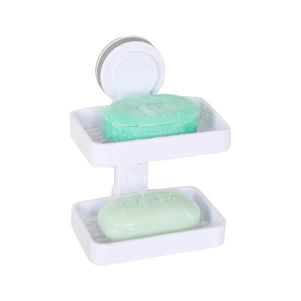 【A-HUNG】魔力吸盤雙層肥皂架 香皂盒 肥皂盒 香皂架 浴室 廚房 水槽 海綿架 菜瓜布架 抹布架
