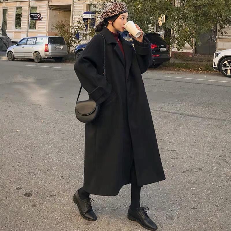 關注有好禮黑色毛呢外套女中長款2020秋冬季新款韓版赫本風呢子大衣百搭加厚