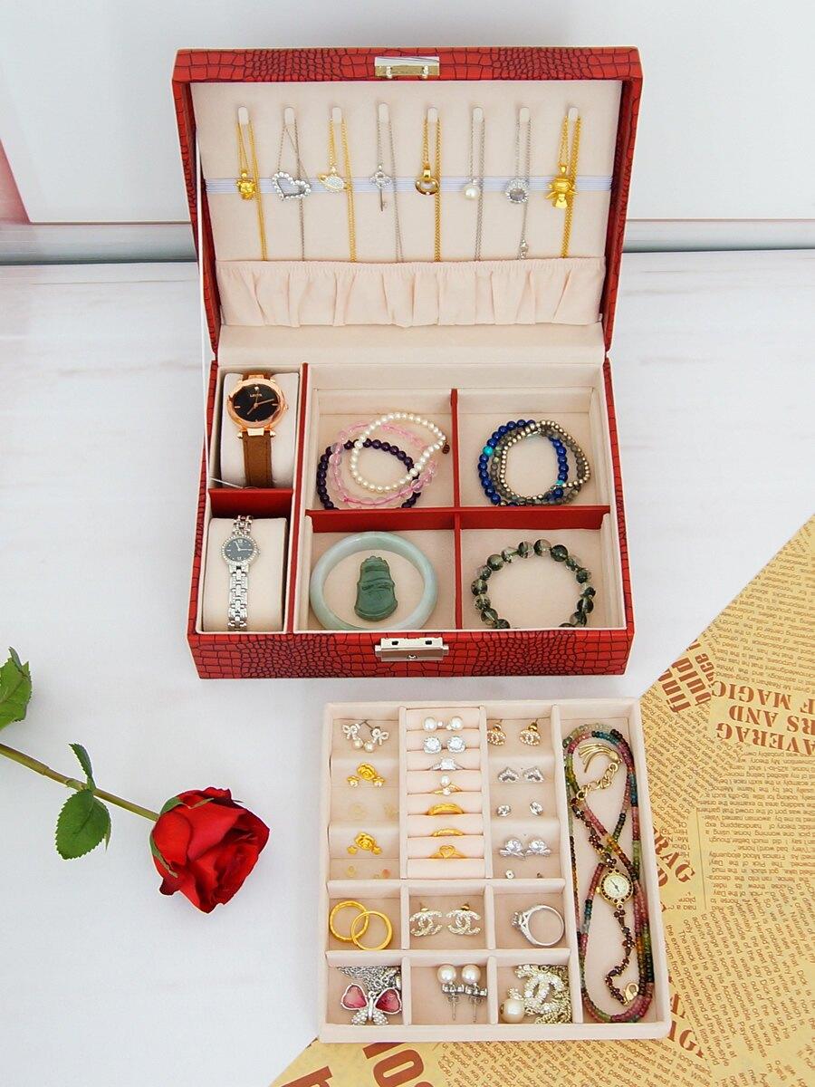 首飾盒帶鎖手表盒戒指袖扣手鐲飾品項鏈收納盒雙層帶公主歐式