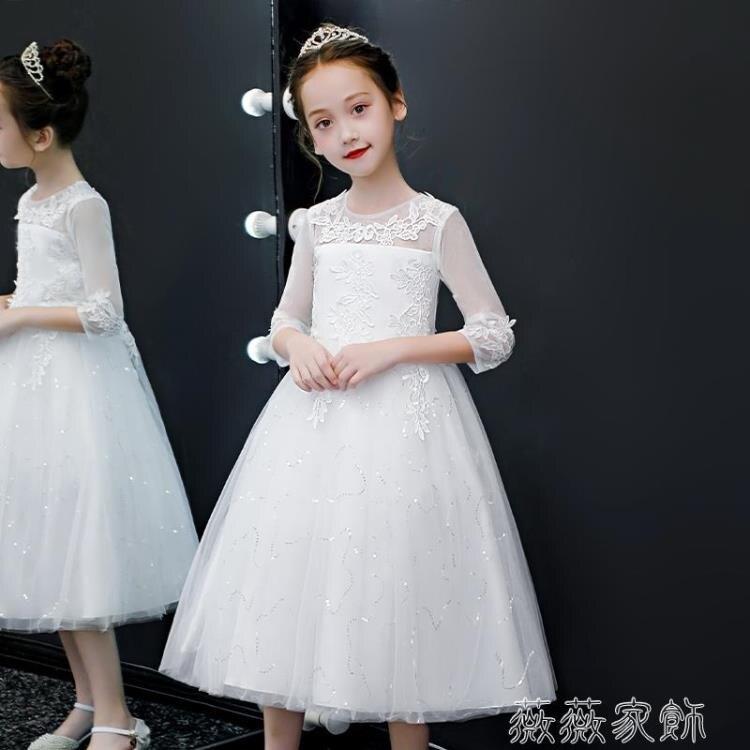 花童禮服 兒童禮服高端霸氣公主裙女童白色蓬蓬紗花童婚紗主持人鋼琴演出服 【古斯拉】