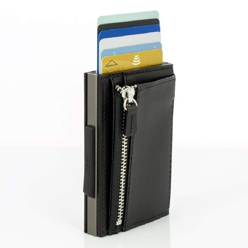 Cascade Zipper Wallet SNAP RFID 安全防盜環扣真皮拉鍊三摺錢包-Titanium Black 金屬灰黑色真皮