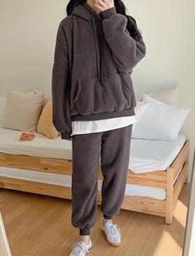 韓國空運 - Fusil Fleece Hood SET ♥ Overfit Hood + Banding Jogger Pants Set 套裝
