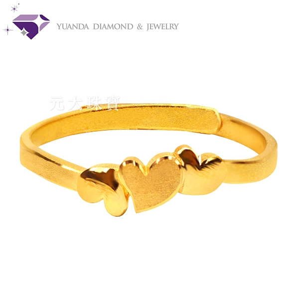 【元大鑽石銀樓】『心串心』黃金戒指 活動戒圍-純金9999國家標準