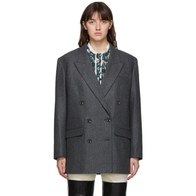 Isabel Marant 灰色 Oladimia 初剪羊毛西装外套