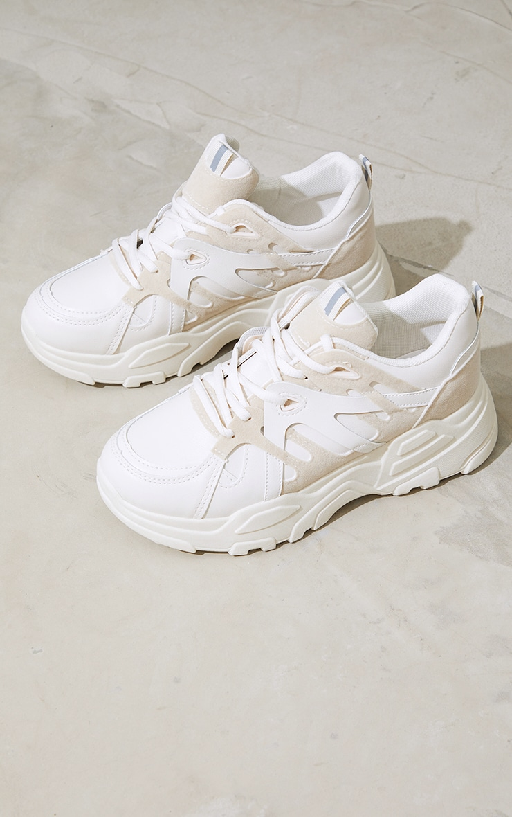 Stone Chunky Panelled Sneakers