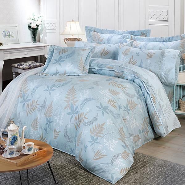 【南紡購物中心】【FITNESS】精梳棉雙人七件式床罩組-里葉亭(藍)