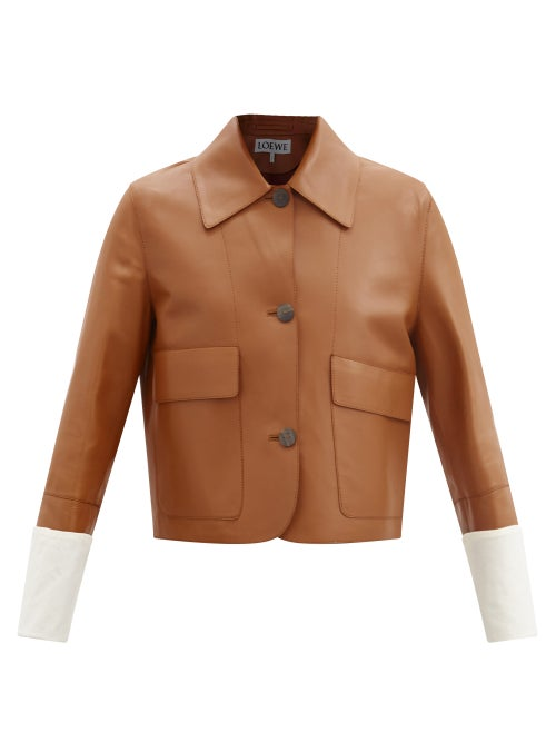 Loewe - Cropped Leather Jacket - Womens - Tan