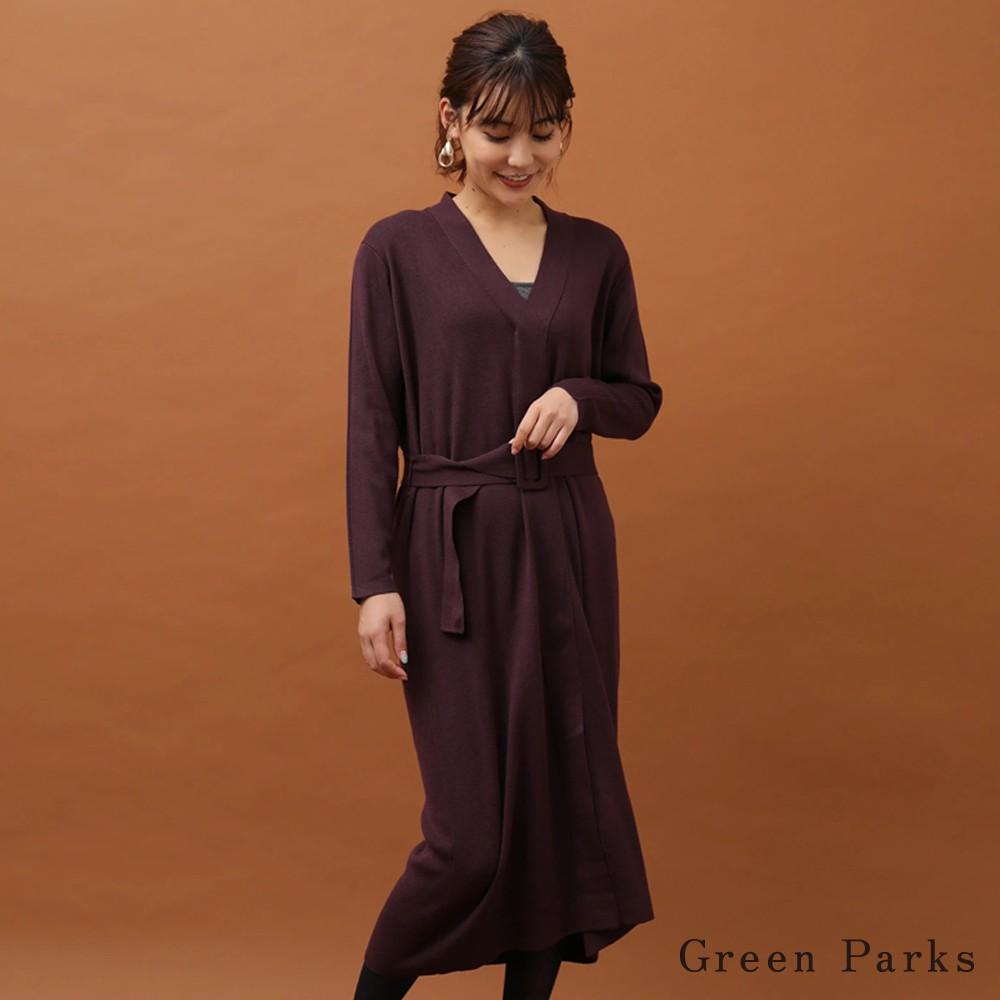 Green Parks 腰際帶V領針織連身洋裝(6P94L2H0300)